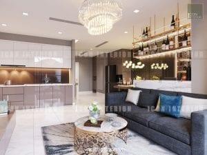 thiết kế nội thất châu âu - phòng khách bếp