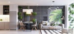 thiết kế và thi công nhà mẫu phòng khách bếp