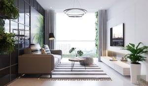thiết kế nội thất căn hộ mẫu 56m2
