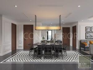 thiết kế phòng ăn căn hộ phong cách indochine