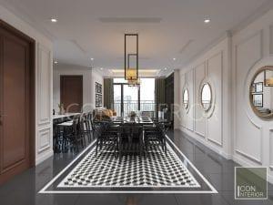 thiết kế căn hộ phong cách indochine - phòng ăn
