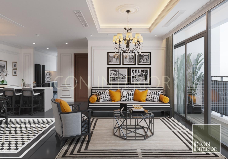 thiết kế căn hộ phong cách indochine - phòng khách