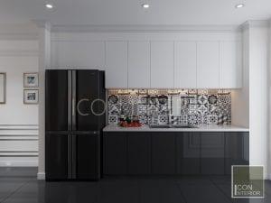 thiết kế nhà bếp căn hộ phong cách indochine
