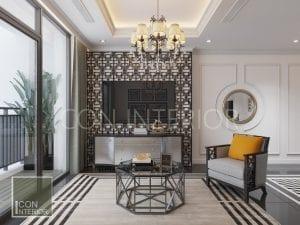 thiết kế phòng khách căn hộ phong cách indochine