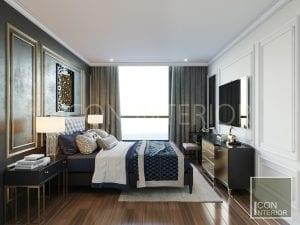 thiết kế căn hộ phong cách indochine - phòng ngủ master