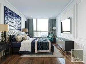thiết kế căn hộ phong cách indochine - phòng ngủ