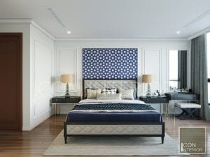 thiết kế phòng ngủ căn hộ phong cách indochine