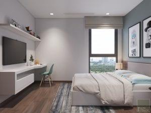 thiết kế nội thất phòng ngủ nhỏ căn hộ 2 phòng ngủ