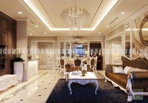 thiết kế nội thất phong cách cổ điển phòng khách bếp