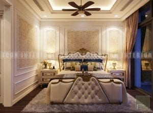 thiết kế nội thất phòng master phong cách bán cổ điển