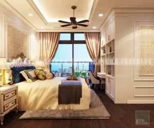 thiết kế nội thất cân hộ phong cách cổ điển phòng master