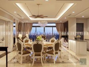 thiết kế nội thất phòng ăn phong cách bán cổ điển