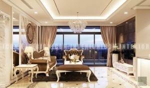 thiết kế nội thất phòng khách phong cách bán cổ điển