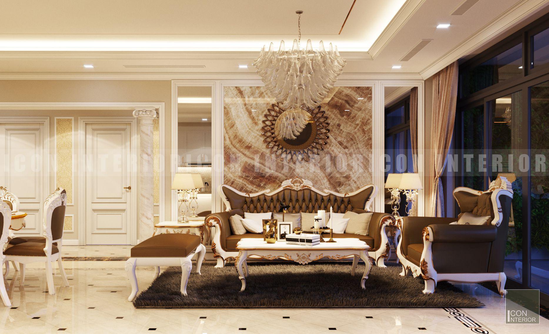 thiết kế nội thất phong cách cổ điển phòng khách