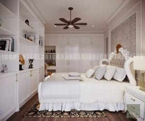 thiết kế nội thất căn hộ phong cách cổ điển phòng ngủ