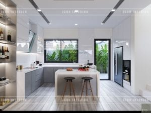 thiết kế biệt thự phố 3 tầng - nhà bếp