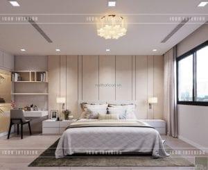 thiết kế biệt thự phố 3 tầng - phòng ngủ master