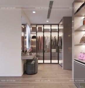 thiết kế biệt thự phố 3 tầng - tủ quần áo