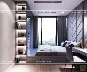 thiết kế nội thất vinhomes ba son - phòng ngủ nhỏ
