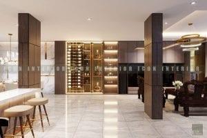 thiết kế nội thất biệt thự đẹp - tủ rượu