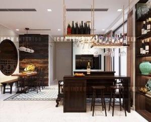 thiết kế nội thất đông dương - tủ rượu