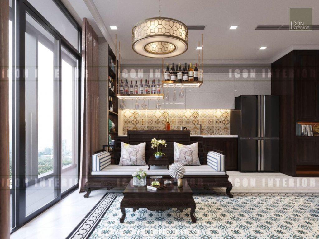 thiết kế nội thất đông dương - phòng khách