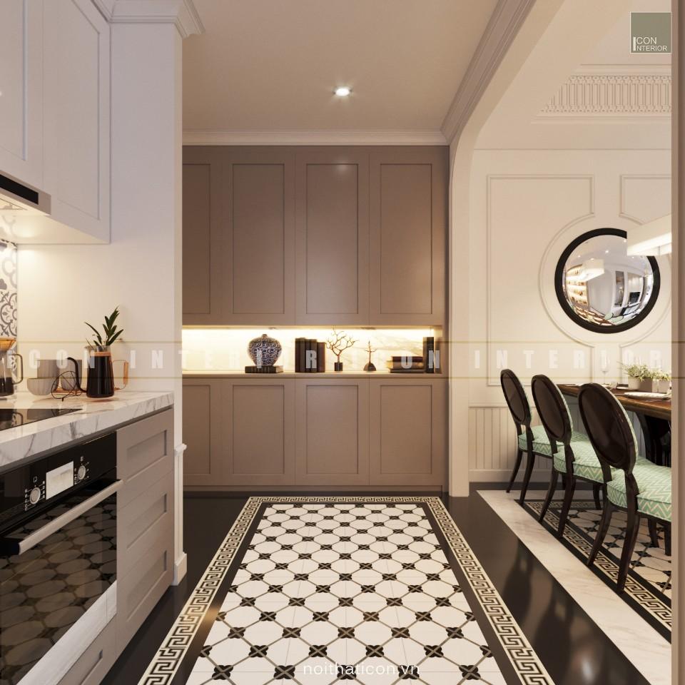 nội thất phòng bếp đơn giản với gương