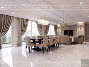 thiết kế căn hộ cao cấp phòng khách bếp 6