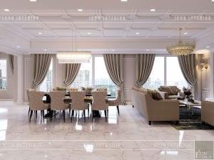 thiết kế căn hộ cao cấp phòng khách bếp 3