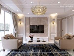 thiết kế căn hộ cao cấp phòng khách bếp 4