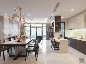 Thiết kế nội thất phòng khách bếp nhà chung cư