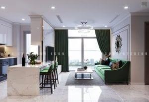 thiết kế phòng khách bếp chung cư đẹp