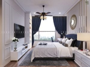 thiết kế nội thất phòng ngủ master tân cổ điển
