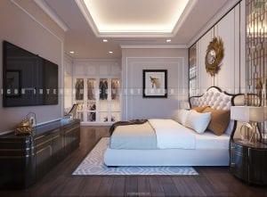 thiết kế nội thất chung cư sang trọng - phòng ngủ master