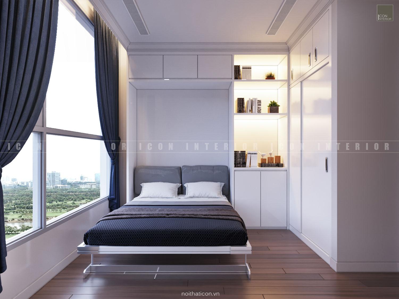 thiết kế nội thất phòng ngủ nhỏ tân cổ điển