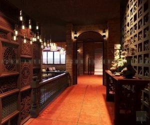 thiết kế quán coffee lầu 1