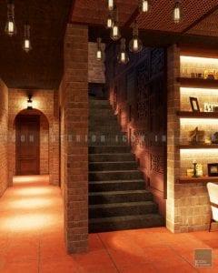 thiết kế quán coffee cầu thang
