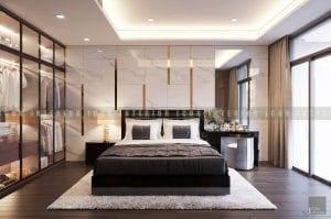 thiết kế nội thất chung cư cao cấp phòng ngủ master 2