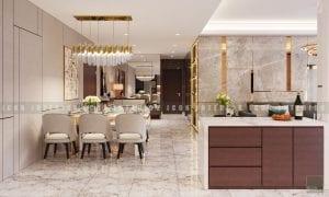 thiết kế nội thất chung cư cao cấp phòng khách bếp 6