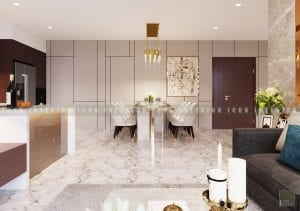 thiết kế nội thất chung cư cao cấp phòng khách bếp 5