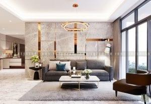 thiết kế nội thất chung cư cao cấp phòng khách bếp 3
