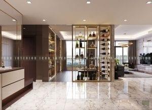 thiết kế nội thất chung cư cao cấp phòng khách bếp 1