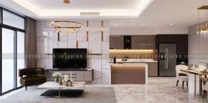 thiết kế nội thất chung cư cao cấp phòng khách bếp 4