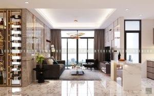 thiết kế nội thất chung cư cao cấp phòng khách bếp 2