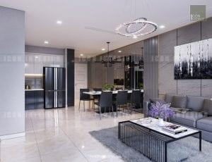 thiết kế nội thất phòng khách vinhomes golden river