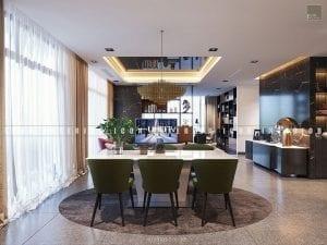 thiết kế nội thất căn hộ vinhomes golden river - phòng ăn