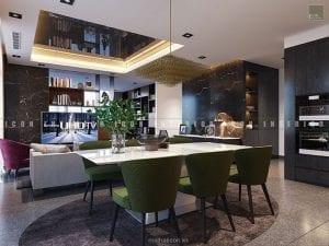 thiết kế nội thất căn hộ vinhomes golden river phòng ăn