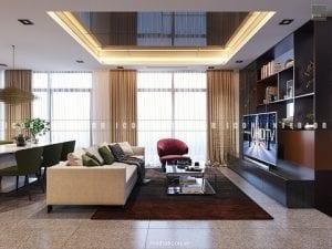 thiết kế nội thất căn hộ vinhomes golden river phòng khách