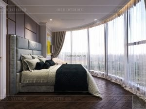 thiết kế phòng ngủ 1 căn hộ vinhomes ba son