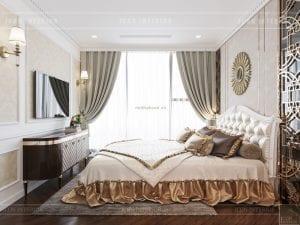 thiết kế phòng ngủ 2 căn hộ vinhomes ba son